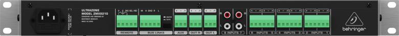 BEHRINGER ULTRAZONE ZMX8210 Aluemikseri 8-kanavainen 3-alueinen Mic/Line alue-mikseri kauko-ohjauksella ja likkiporteilla. Erittäin monipuolinen ja helppokäyttöinen aluemikseri jossa 6 erittäin matala-kohinaista Mic/Line-Sisäänmenoa gaineilla, -20dB padilla sekä taso/clip-mittareilla. Kolme valittavissa olevaa ulostuloa (vasen, oikea ja aux) yksilöllisillä master kontrolleilla ja 5-osaisilla LED mittareilla. KOKO: 1U
