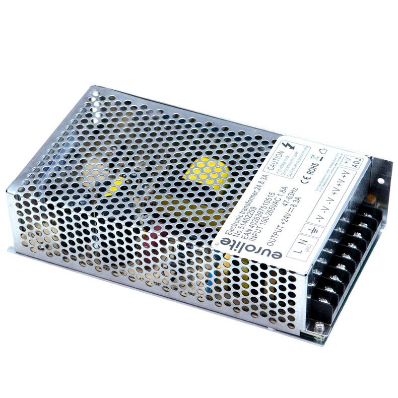 EUROLITE Elektroninen muuntaja LED-virtalähde joka sopii mm LED stripeille tms. 24V, 8,3A