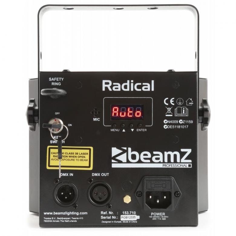 BEAMZ RADICAL LED Perhosvaloefekti 6x3W RGBAWP+ laser, modernin klassikon päivitetty DMX-versio IR kaukosäätimellä . Kuuden 3W RGBAWP LEDin avulla tämä