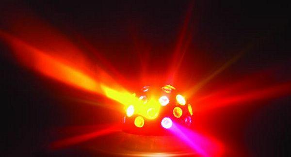 EUROLITE B-10 Half ball Chrome with 2 x 230V/40W, valoefekti kotikäyttöön, pöydälle, tai kattoon.