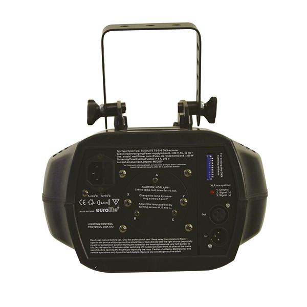 EUROLITE TS-255 Scanneri 250W, 7 väriä, 7 pyörivää goboa, 6 DMX-kanavaa, manuaali focus, stroben nopeus säädettävissä 1-7Hz, stand-alone, master/slave. Hintalaatusuhteessa edullinen DMX-ohjattava scanneri, pyörivillä goboilla tekee tästä erittäin haluttavan. Scanneri toimii tehokkaalla 250W MSD/HSD kaasupurkauspolttimolla, tilattava erikseen.