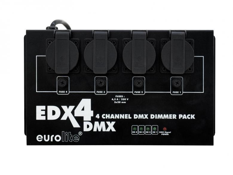 EUROLITE EDX-4 DMX Himmennin pakki dimmeri 4x1000W. maksimi verkon mukainen 16A eli n. 3680W. Tällä himmentimellä saat normaalin DMX-ohjaimen toimimaan perinteisten valojen kanssa, kuten Par 56, par 64 sekä teatteri spotit halogeeni ja tungsten.Pakissa on 4-kanavaa ja jokaiseen voit laittaa 5A kuormaa! Pakkia kaikilla DMX- ja analogiohjaimilla. Ulostulot Suko pistokkeilla. Esim. par-heittimien seuraksi voit ottaa jonkun ohjauspaneelin yhteensopivista tuotteista! Mitat 320 x 165 x 110 mm sekä paino 3,0kg. Voidaan asentaa vaikka seinään ruuvaamalla!