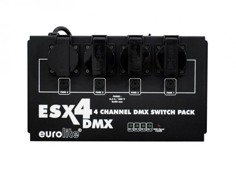 EUROLITE ESX-4 DMX switch pack, katkaisin pakkki DMX. Voit ohjata kaikkia analogisia laitteita tällä pakilla. On/OFF. 4 x 1150W channel, Max. power output 3680W. Mitat 320 x 165 x 110 mm sekä paino 3,0kg.