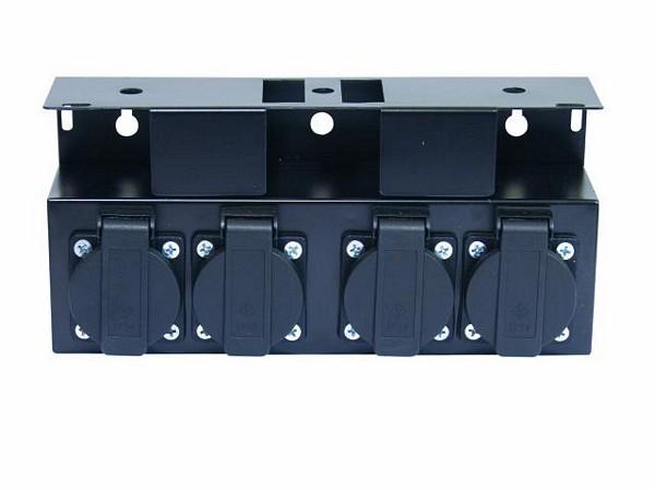 EUROLITE SB-4 Haaroitusrasia metallinen, ilman kaapelia. Steelbox without cable. 4kpl Shuko ulostuloja. Mitat 240 x 115 x 80 mm sekä paino 1kg.