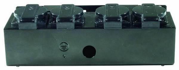 EUROLITE SB-4 Haaroitusrasia metallinen, ilman kaapelia, 4kpl Shuko ulostuloja, mitat 240 x 115 x 80 mm sekä paino 1kg.