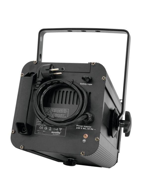 EUROLITE 650/1000 Teatterivalaisin antihalo linssillä, 650W tai 1000W polttimolle, mitat 370 x 255 x 340 mm sekä paino 5,0kg.
