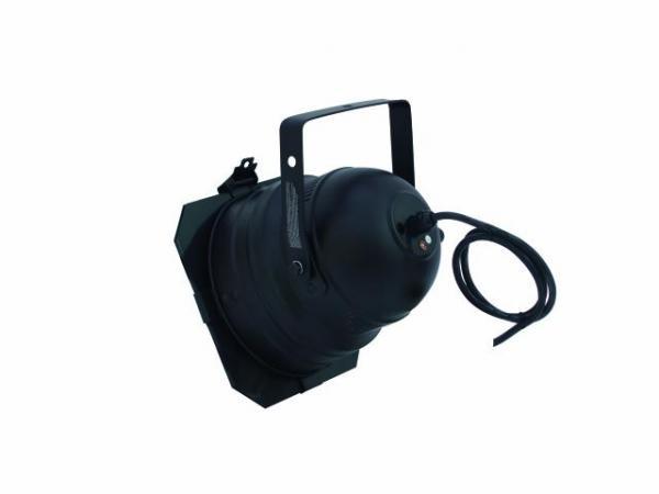EUROLITE PAR-56 Pro Heitin Lyhyt musta kaapelilla, ilman pistotulppaa, sekä ilman polttimoa. Short spot, with cable, black. Mitat 220 x 210 x 220 mm sekä paino 0,8kg.