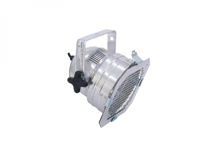 EUROLITE PAR-56 Valaisin malli lyhyt alumiini, virtakaapelilla, ilman pistotulpaa sekä ilman polttimoa, mitat 220 x 210 x 220 mm, paino 0,8kg.