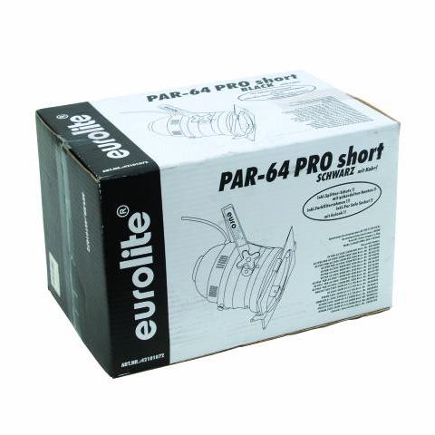 EUROLITE PAR-64 Pro Lyhyt Spotti, Musta, Profi spot, short, with cable, black