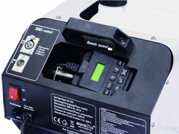 EUROLITE N-150 Savukone, DMX, 1500W LCD-näytöllä ja kauko-ohjaimella, lämpenemisaika 10 min, Teho 700 cbm/ minuutissa!- Tehokas savukone  1500W vastuksella  Helppokäyttöinen LDC ohjain  Lämpenemisaika noin 10 minuuttia Savun ulostulo noin 8- metrin etäisyydelle Savun tuotto noin 700 m¼/min  Nestesäiliön tilavuus 6- Litraa Voidaan ohjata DMX kautta. Mitat 670 x 300 x 240 mm sekä paino 15,00kg.