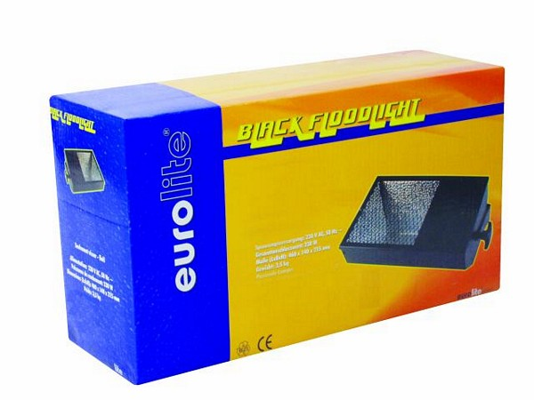 EUROLITE Black Floodlight 250W, Valaisinrunko mustavalolle, taottu heijastin. Mitat 510 x 240 x 220 mm sekä paino 7kg.