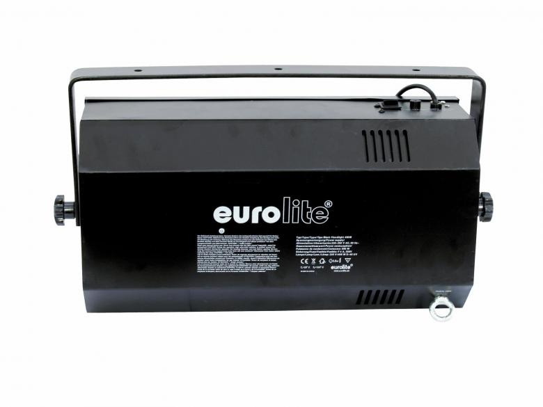 EUROLITE Black Floodlight 400W leveällä aukeamiskulmalla. Valaisinrunko mustavalolle, taottu heijastin UV- FLood light runko. Valaisimessa on sisäänrakennettu sytytin 400W mustavalolampulle (ei sisälly hintaan). Mitat 580 x 155 x 305 mm sekä paino 9.0kg.