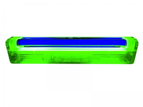EUROLITE 45cm UV-valaisinsetti (mustavalo), sisältää lampun ja valaisinrungon, runko keltainen. UV tube complete fixture 15W ABS yellow. Mitat 470 x 100 x 60 mm sekä paino 1,2kg.