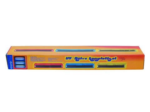 EUROLITE 45cm UV-valaisinsetti mustavalo, sisältää lampun ja valaisinrungon, runko sininen. UV tube complete fixture 15W ABS blue! Mitat 470 x 100 x 60mm sekä paino 1.2kg.
