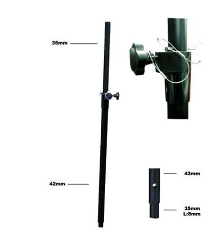 OMNITRONIC Kaiuttimen väliputki, Säädettävä, Distance tube bassbox/satellite variable, 18 kg max load