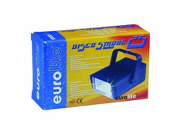 EUROLITE Disco Strobe 25, pikkuveli disco strobe 50 mallille, nopeus säädettävissä 1- 10 välähdystä sekunnissa, yksinkertaista: kytke vain virta ja laite on käyttökunnossa.