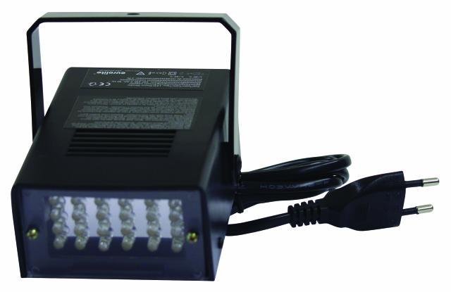 EUROLITE LED Disco Strobe White Tehokas LED strobe, nopeus säädettävissä 1- 10 välähdystä sekunnissa, yksinkertaista: kytke vain sähkö, niin käyttökunnossa, pitkäikäiset, valkoiset LEDit!Tuotteessa on musiikkiohjaus sisäänrakennetulla mikrofonilla, joka tunnistaa basson mukaan rytmin. Takana kytkin jonka avulla saat normaalille tai musiikkiohjaukselle.