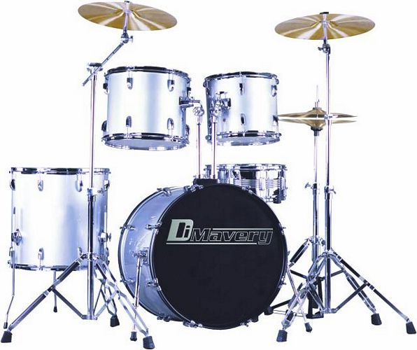 DIMAVERY Drum-Set DS-205 5pcs. silver, i, discoland.fi
