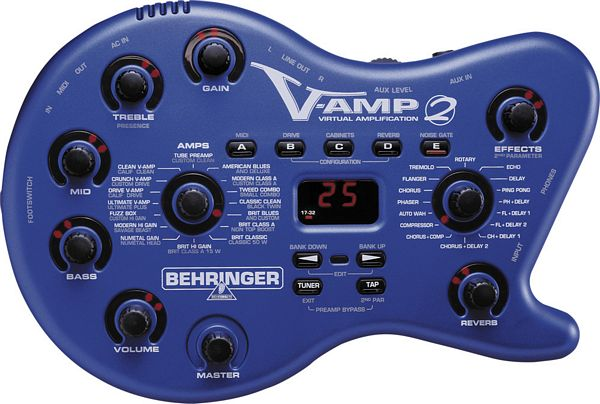 BEHRINGER V-AMP 2, Virtual Guitar Amplifier with Tube Simulation and 24-Bit Effects