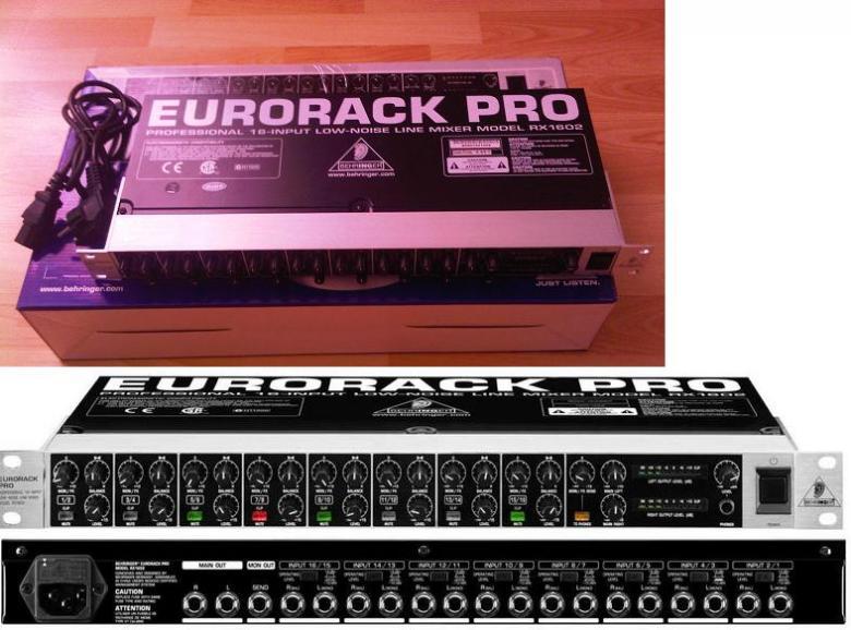BEHRINGER Eurorack Pro RX1602 räkkimikseri 1U, 16 balansoitua linjatuloa sekä mono- että stereokäyttöön• Sekä +4 että -10 -taso • Monitor/FX-lähtö • Kuulokelähtö