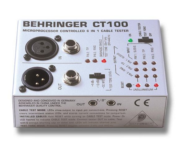BEHRINGER CT100 kaapelitesteri mikroprosessori ohjattu CABLE TESTER CT100, Microprocessor-Controlled Cable Tester