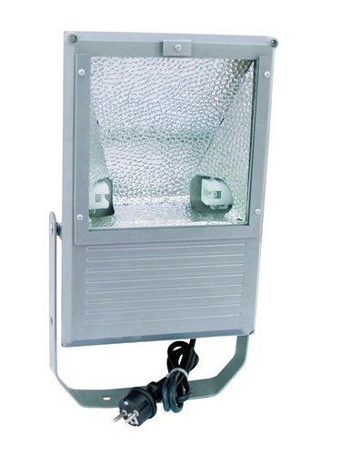 EUROLITE Ulkovalaisin 150W IP65, tehokaallle kaasupurkauslampulle, Outdoor Spot 150W WFL silver IP65, For bright 150 W discharge lamp