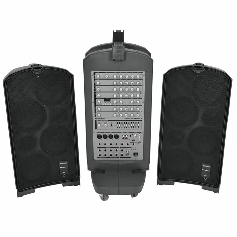 OMNITRONIC PAM-500 MK2 Tyylikäs siirrettävä Radiolla (FM Tuner)aktiivikaiutinjärjestelmä 2x 140W RMS at 4ohms, Portable active PA-system sis. 2x mikrofonia, 2x kaiutinkaapelit ja virtakaapelit sekä mikserin! Sisäänrakennetussa mikserissä 4x mikrofoni sisään, 4x jack sisään line. DSP efektilaita 2kpl langallisia mikrofoneja sekä uskomattoman näppärä kuljetuslaatikko. Soveltuu vaikka ravintolabn taustaäänentoistoksi, jolla voi vetää vaikka karaokea! Sisäänrakennettu USB MP3 soitin musiikkia varten. Stereo sisäänmenot sekä liitännät ulos ja sisään. Mahdollista liittää lisä aktiivi kaiuttimia. Mitat 760 x 845 x 330 mm sekä paino 31.00kg.