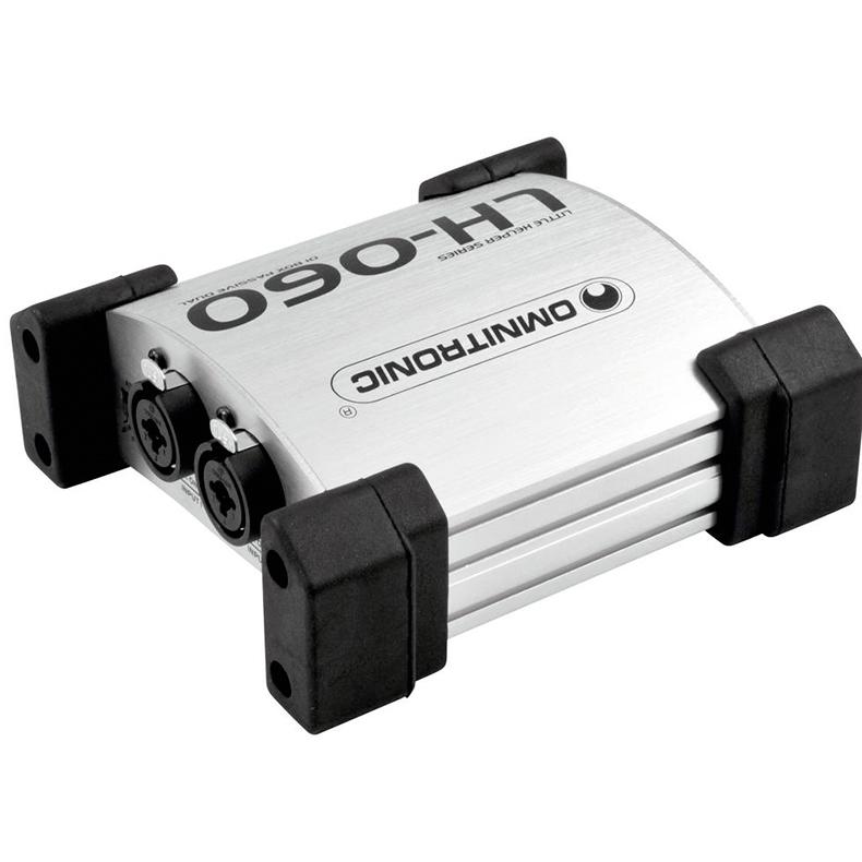 OMNITRONIC LH-060 passiivinen di boxi tupla hopean värinen, erittäin pieni. Muuntaa balansoimattoman instrumentti signaalin balansoiduksi 600-Ohm mikseri ulostuloon. Maa katkaisin, säädettävä vaimennus -0/20/40db. 2 kpl matalataso ulostuloja.