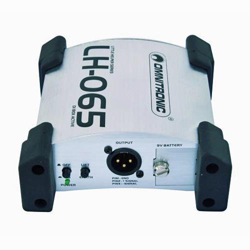 OMNITRONIC LH-065 aktiivinen DI box laadukas aktiivinen di boxi, joka toimii paristoilla, matala ohminen xlr ulostulo. Maa katkaisin, säädettävä vaimennus -0/20/40db.