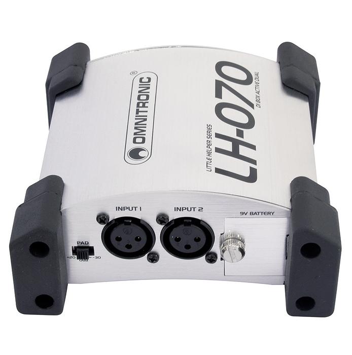 OMNITRONIC LH-070 aktiivinen tupla di boxi, varustettu split modella. 2kpl matala impedanssista xlr ulostuloa. Active dual DI box XLR, Tupla DI boxi!