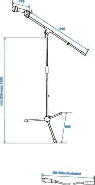 OMNITRONIC CMK-10 Mikrofonisetti, jalustan, mikrofonin kaapelin 5m, clampin sekä kuljetuspussin paino 2,8kg.