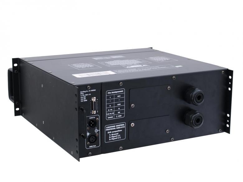 EUROLITE DPX-1210 DMX 12 kanavainen himmenninpakki, 12x 2300W, max ulos 27600W, laite vaatii sähkömiehen kytkemään johdotuksen 10A kanava, voidaan käyttää yksi- tai kolmivaihevirtaa, mitat 482 x 485 x 176 mm sekä paino 27kg.