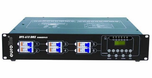 EUROLITE DPX-610 DMX-control Himmennin/ dimmer or analogue control, 6 channel x 2300W, Max. output 13800W, pole connectors