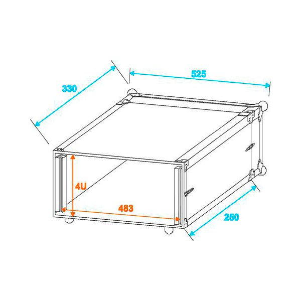 OMNITRONIC Efektiräkki. Effect rack CO DD, 4U, 24cm deep, alu. Professional flight case for 483 mm units (19