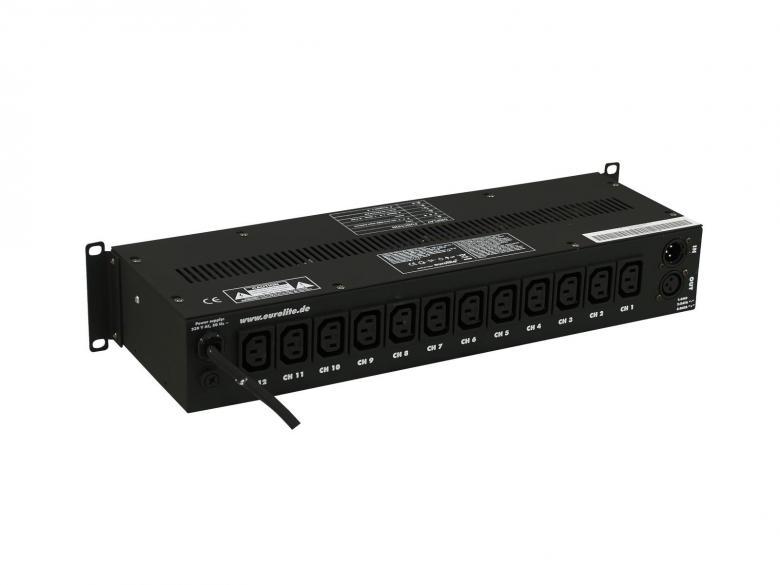EUROLITE ES-12 IEC DMX katkaisin boxi, joka on varustettu juoksutuksilla eli valmmiilla ohjelman pätkillä. 8kpl valmiita Chase ohjelmia, 9kpl eri nopeuksia, . 12-channel x 1150W switching pack, IEC sockets. Mitat 160 x 482 x 90 mm sekä paino 3.0kg.