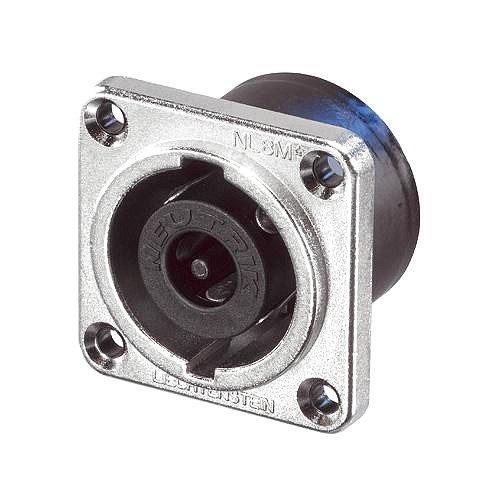 NEUTRIK NL8MPR, 8-pole chassis connector male, nickel metal square G-size flange, countersunk thru holes, 3/16
