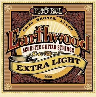 POISTO Ernieball EB-2006 Pronssipunotut teräskielet 010, 014, 020w, 028, 040, 050.  Earthwood Extra Light .010 - .050 Acoustic 80/20 Bronze