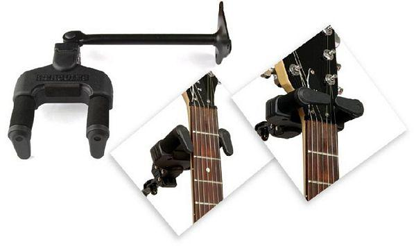 HERCULES GSP39WB Kitarakoukku, lyhyt varsi on Kitaran seinäteline automaatti lukituksella. Erittäin laadukas.Kaksi jousitettua tukivipua taipuvat otelaudan päälle kun kitara asetetaan paikalleen haarukkaan. Kitarateline, seinäteline.