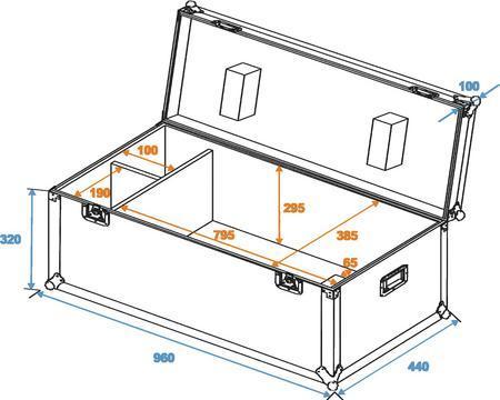 ROADINGER Kuljetuslaatikko scannerille Flightcase for PSX-250/PSX-575 Scan, soveltuu useille isoille scannereille. Sisämitat 800x 300x 390mm. Ulkomitat 960 x 435 x 410 mm sekä paino 16kg.