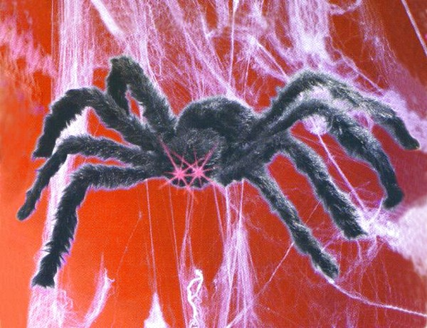 DECO Spider black big with LED eyes, discoland.fi