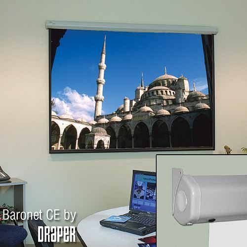 DRAPER Baronet/CE 244 cm x 244 cm, Fiberglass matt white, compact, electric, motor-in-roller front projection screen