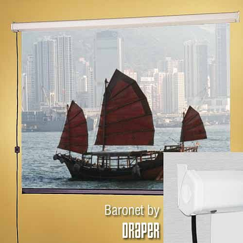 DRAPER Baronet/CE 213 cm x 213 cm, High contrast grey, compact, electric, motor-in-roller front projection screen