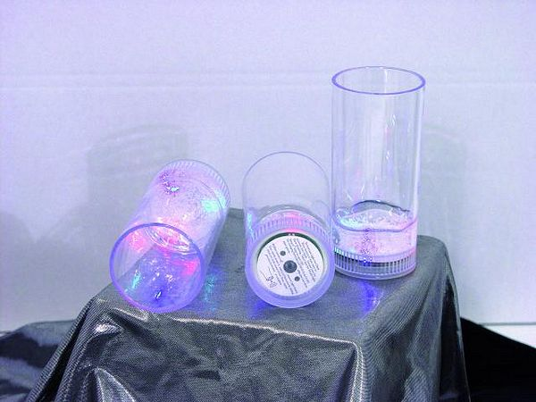 DECO LED glass 14cm approx 250ml multicolor 3 modes 3 pcs, LED-juomalasit 3kpl paketti