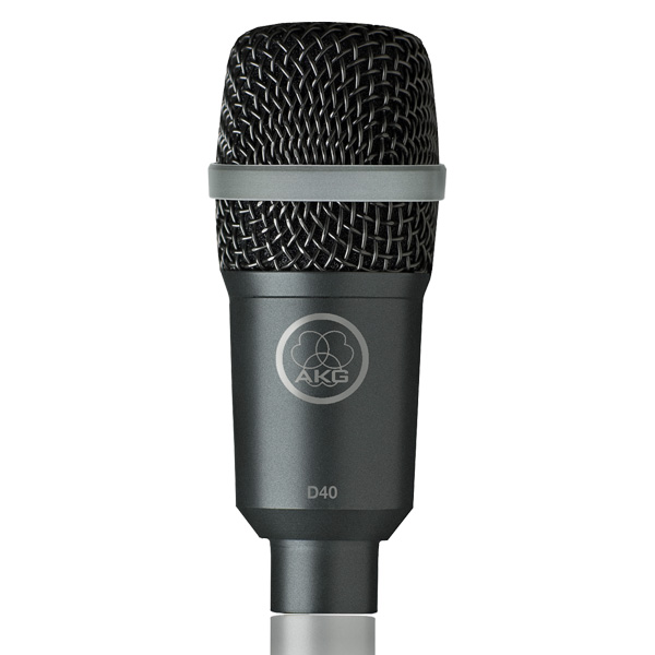 AKG D40 Dynaaminen Rumpumikki, Dynamic microphone designed for drums and percussions, wind instruments and guitar amps, Dynaaminen instrumenttimikrofoni rummuille, perkussioille, puhaltimille ja kitaravahvistimille