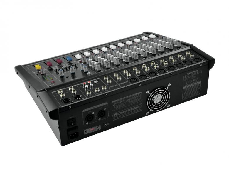OMNITRONIC LS-1222A Mikserivahvistin 2x 300W 12 mic-line-kanavaa, 8 mono- ja 2 stereo sisääntuloa, phantom power 48V. Mitat 550 x 390 x 125 mm sekä paino 13,00kg.