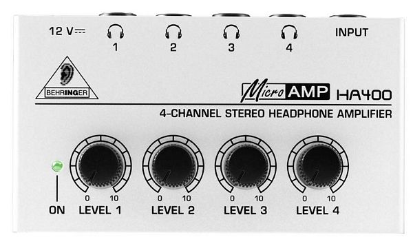 BEHRINGER MICROAMP HA400 Ultrakompakti 4-kanavainen stereo kuuloke splitteri.Tämä 4-kanavainen stereokuulokevahvistin on tarkoitettu toimimaan kaikenlaisten kuulokkeiden kanssa.