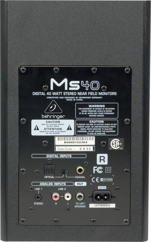 BEHRINGER MS40 Lähikenttä monitori pari 40W Digitaaliset aktiivilähikenttämonitorit, sisäiset 2x 20W päätteet, 4 3/4