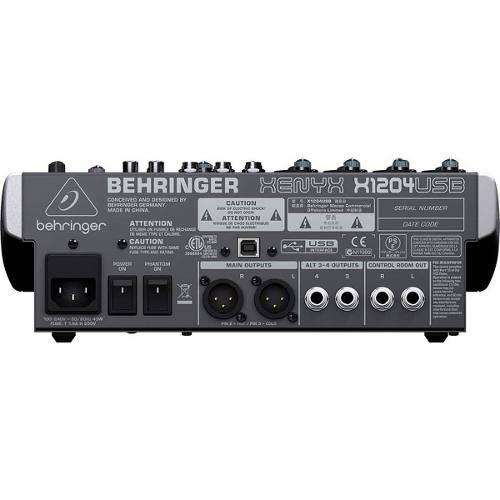 BEHRINGER XENYX 1204USB Pienikokoinen mikseri pa käyttöön USB liitännällä sekä liukusäätimillä. Premium 12-Input 2/2-Bus Mixer with XENYX Mic Preamps, British EQs and USB/Audio Interface.Sisältää softapaketin äänitysohjelmalla, efekteillä ja softainstrumenteilla Introducing XENYX: Premium Analog Mixers with USB from BEHRINGER.