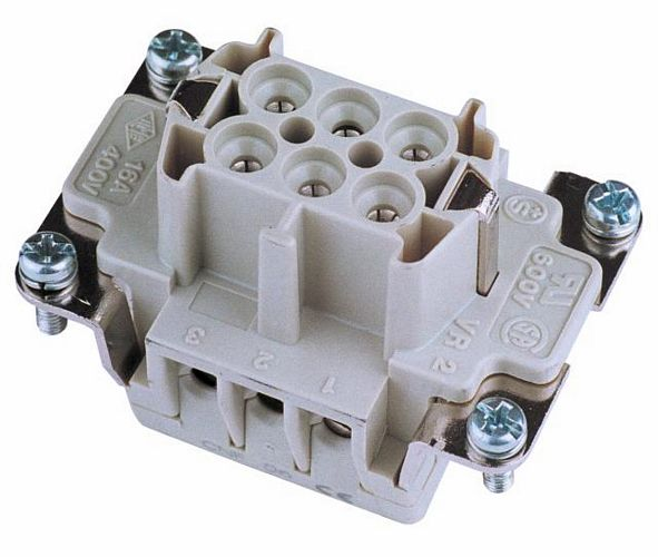 EUROLITE Socket insert 6-pole 16A, screw terminal.