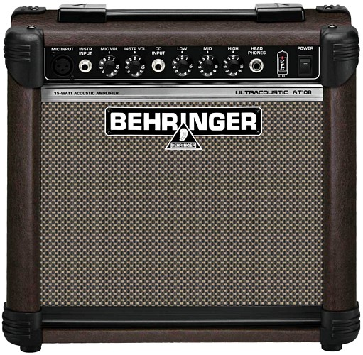 BEHRINGER ULTRA ACOUSTIC AT108 Ultra-Compact 15-Watt Acoustic Instrument Amplifier with VTC-Technology and Mic Input